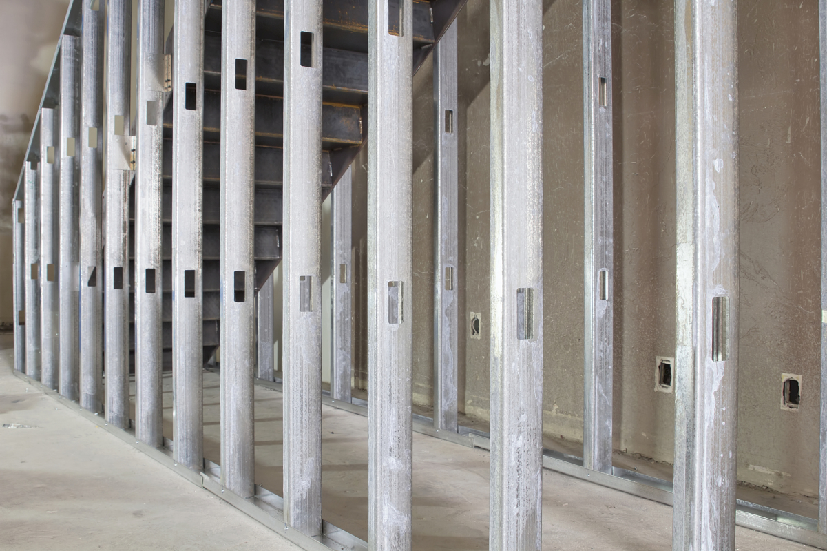 Metal Stud Framing Under the Steel Staircase in Commercial Space